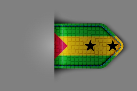 Flag of Sao Tome and Principe in the form of a glossy textured label or bookmark  Vector illustration  Vector