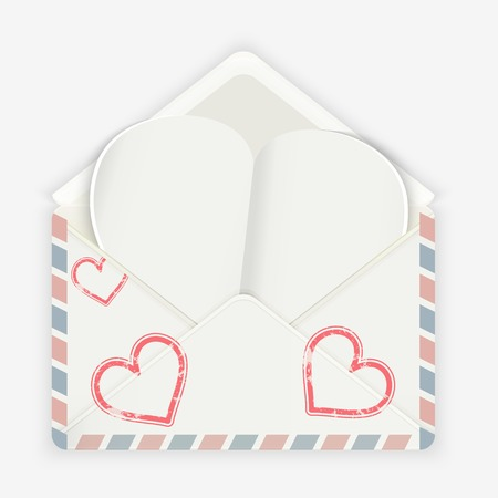 Valentine background  Realistic envelope with attached paper heart  Vector illustration