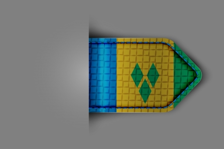 Flag of Saint Vincent and the Grenadines in the form of a glossy textured label or bookmark  Vector illustration  Vector