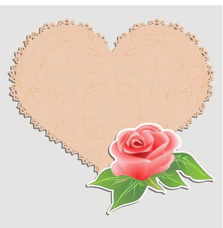 Vintage greeting card. Doily in the form of heart and a rose. Vector illustration. Vector