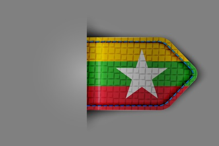 indochina peninsula: Flag of Myanmar in the form of a glossy textured label or bookmark. Vector illustration. Illustration
