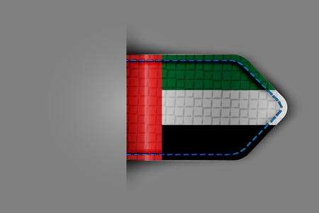 Flag of the United Arab Emirates in the form of a glossy textured label or bookmark. Vector illustration.