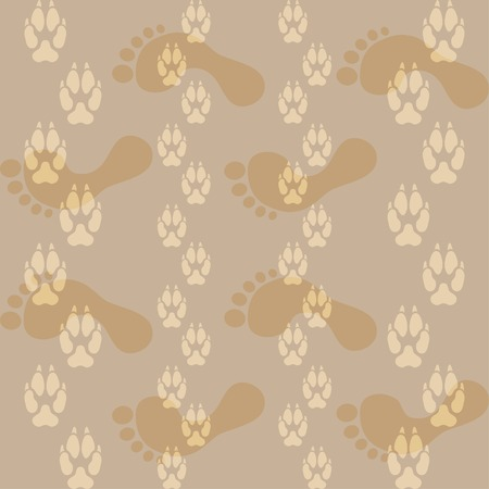 Seamless pattern ways dog paw prints and legs of a man. Vector illustration.