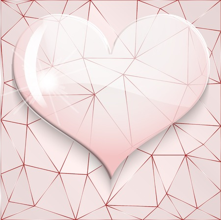 Background of glass heart on diamond background. Vector illustration. Vector