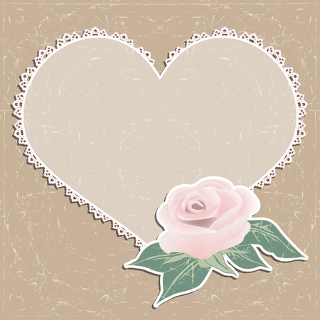 Vintage greeting card. Napkin in the form of heart and a rose. Vector illustration. Vector