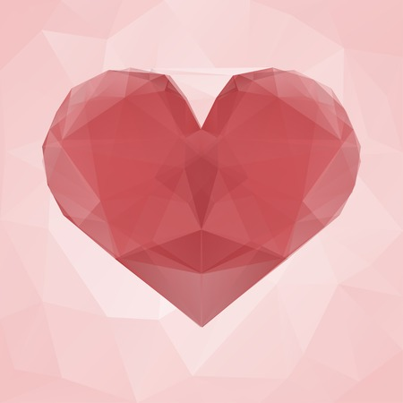 Red heart made of transparent triangles on a pink abstract geometric background. Valentine card. Vector illustration Vector