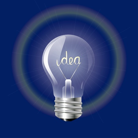 Concept ideas in the form of light bulb on a blue background  Vector illustration