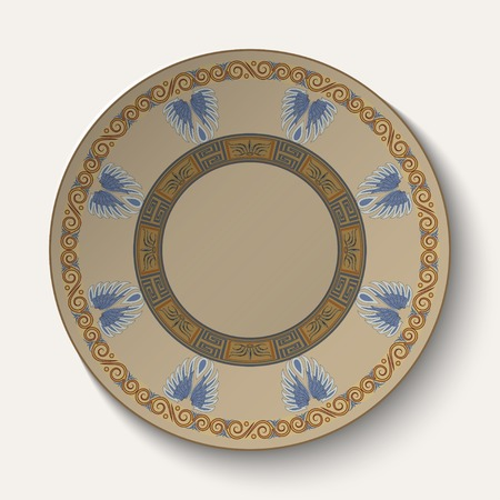 Background in the form of plate with an ornament in the ancient Greek style  Vector illustration Vector