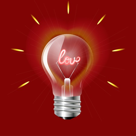 word love: Concept of love in the form of light bulb on a red background  Vector illustration