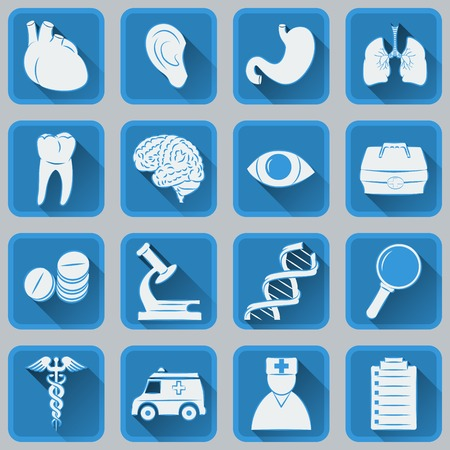 A set of flat square icons on medical subjects Vector