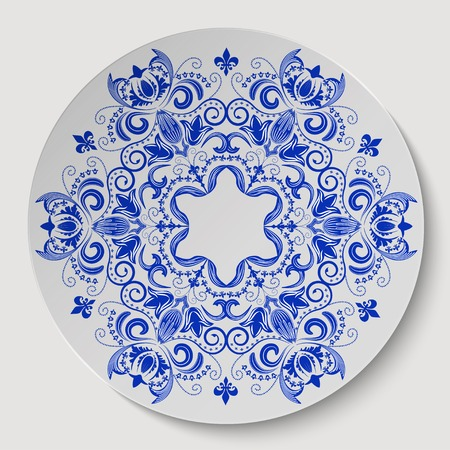 Blue round floral ornament Vector