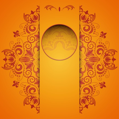 vertical divider: Bright background with circular floral pattern and place for text Illustration