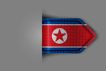 Flag of North Korea in the form of a glossy textured label or bookmark Vector