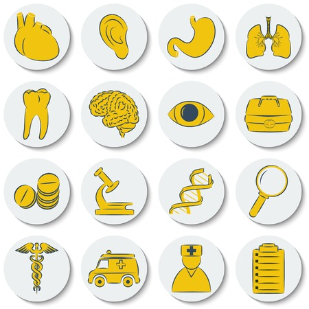 A set of flat round icons on medical subjects. Vector