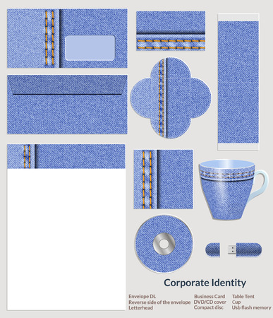 Design of corporate identity. Denim pattern for the company in the field of fashion and art. Vector