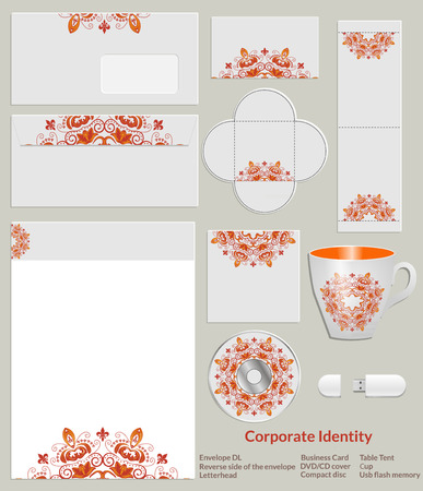 Design of corporate identity. Bright red and yellow abstract floral pattern for the company in the field of beauty, fashion and art.  Vector