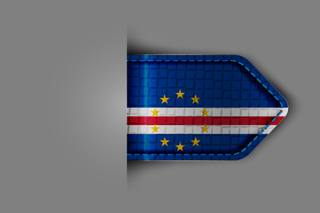 praia: Flag of Cape Verde in the form of a glossy textured label or bookmark. Vector illustration.