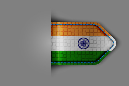 Flag of India in the form of a glossy textured label or bookmark. Vector illustration.