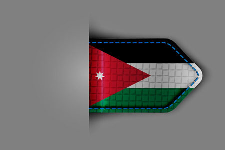 Flag of Jordan in the form of a glossy textured label or bookmark. Vector illustration. Vector