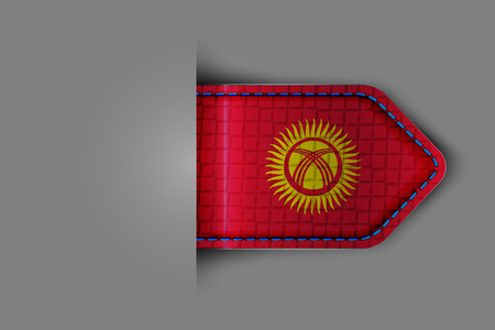 Flag of Kyrgyzstan in the form of a glossy textured label or bookmark.  Illustration
