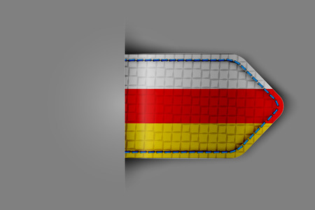 Flag of South Ossetia in the form of a glossy textured label or bookmark.  Illustration