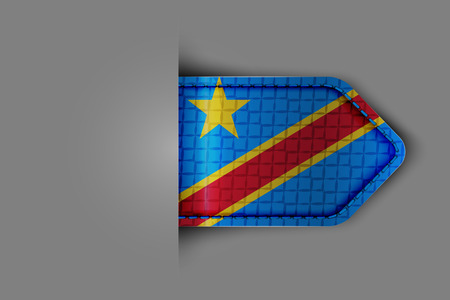 Flag of the Democratic Republic of the Congo in the form of a glossy textured label or bookmark. Vector