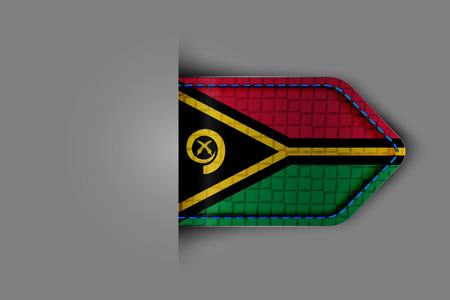 Flag of Vanuatu in the form of a glossy textured label or bookmark.  Illustration