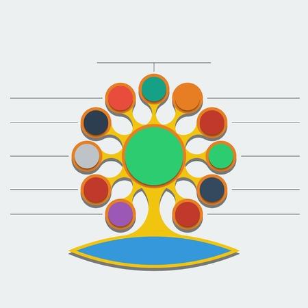 Plantilla de Infografía. Árbol abstracto con metaball estilo raíces.