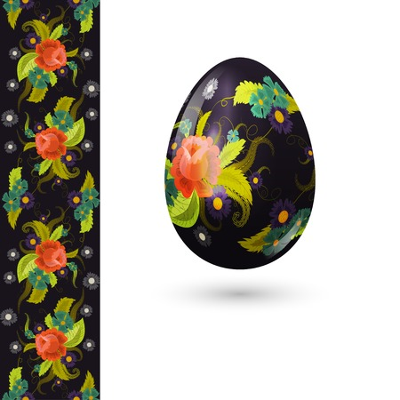 Easter egg decorated with beautiful floral pattern and seamless pattern with roses.  Vector