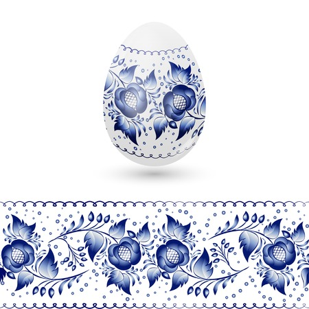 Blue Easter egg stylized Gzhel. Russian blue floral traditional pattern.  Illustration