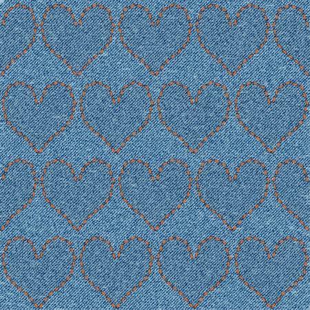Embroidered hearts on denim, seamless pattern. Background for Valentines Day.  Vector