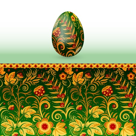 Colorful Easter egg stylized Russian khokhloma pattern. Vector