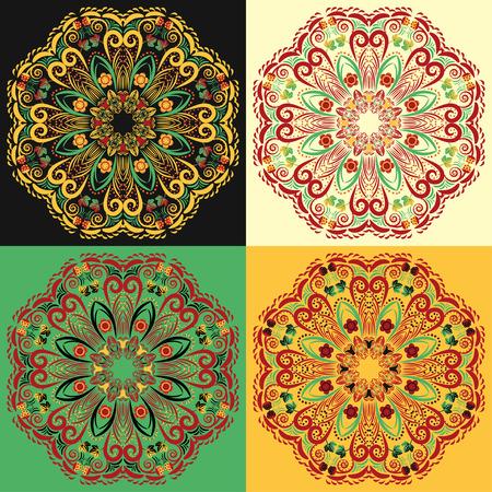 pastiche: Set of four traditional Russian circular mandala patterns khokhloma  Illustration