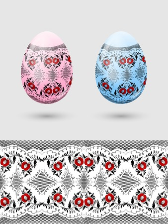 Colorful Easter eggs stylized Russian pattern   Vector