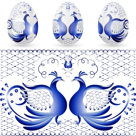 Easter egg with a pattern of stylized gzhel  Blue bird  Vector illustration  Vector