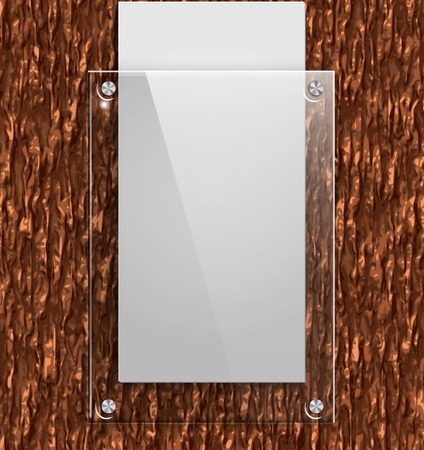 Glass plate on the bark of a tree with white paper  Vector illustration