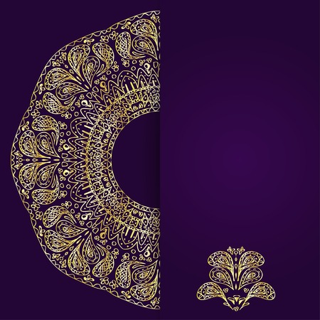 vertical divider: Abstract lilac background with gold lacy mandala pattern  Vector illustration