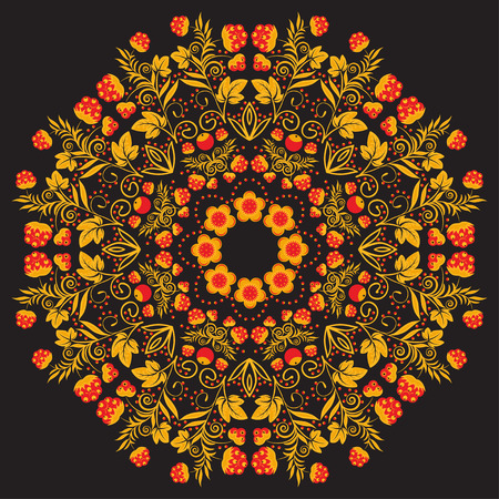 Russian traditional circular pattern mandala  Red with gold berries on a black background  Vector