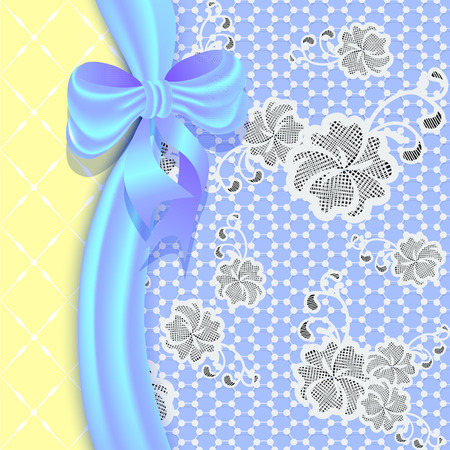 bush mesh: Lace background with a satin ribbon and bow  Delicate pastel colors can be used for invitations and greeting cards