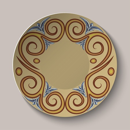 Background of dishes with a circular pattern in the ancient Greek style.  Vector