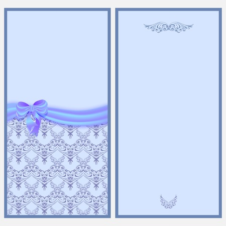 Template invitation card with a satin ribbon and blue bow with Victorian pattern.  Vector