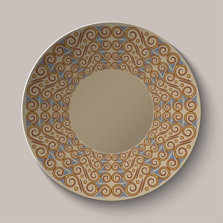 Circular pattern in the Greek style on the plate.  Vector
