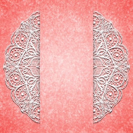 vertical divider: Abstract pink background with white lacy mandala pattern.