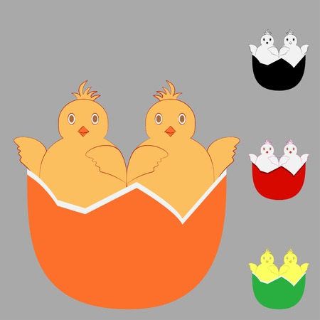 ideogram: Two in one chicken egg. Abstract design template. Icon concept approach or kinship.