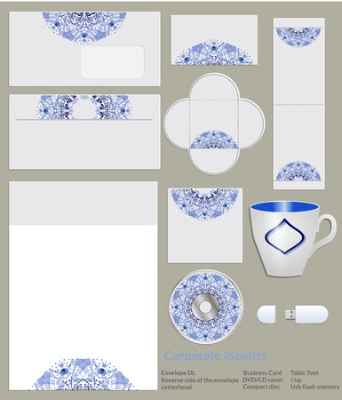 Design of corporate identity. Blue floral pattern in Gzhel style for artistic and creative companies in the field of beauty and fashion. Vector