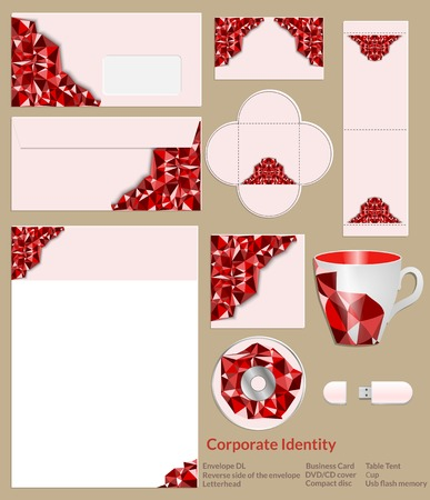 Design of corporate identity. Abstract red geometric pattern is ideal for prominent companies.  Vector