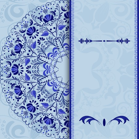 Beautiful invitation card with a blue floral pattern stylized gzhel. Vector