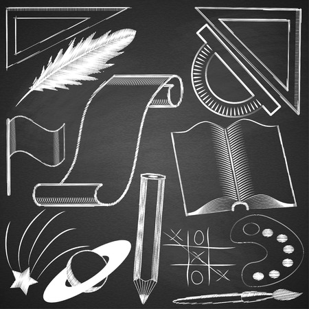 Elements made ??by hand with chalk on blackboard grange texture. Vector illustration. Stock Vector - 28298049