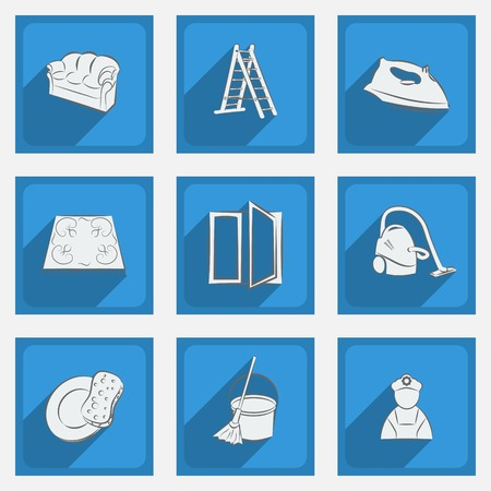 Fashionable flat icons with long shadows cleaning theme on a blue background.  Vector illustration. Vector
