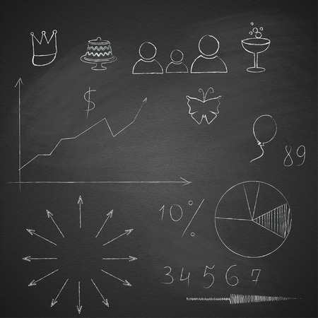 Elements of infographics made ??by hand with chalk on blackboard grange texture. Vector illustration. Stock Vector - 28298057